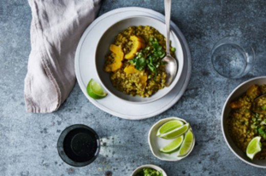 plant based cooking green curry porridge