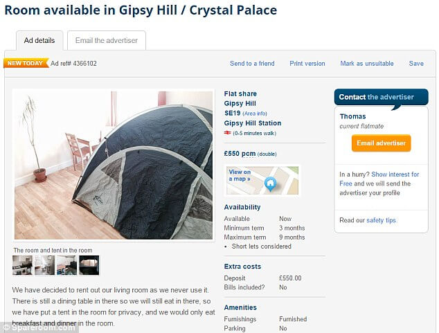 Tent in Dining Room to rent in London