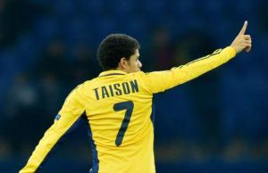 Le Brésilien Taison, qui évolue au Metalist Kharkiv, a mis l'un des plus beaux buts de 2012. SERGEI SUPINSKY / AFP