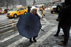 Neige le 8 février 2013 à New York MEHDI TAAMALLAH AFP.COM