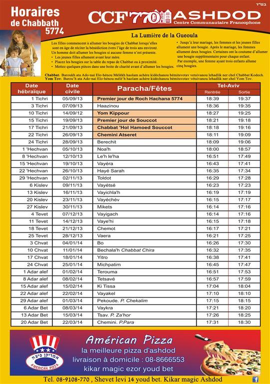 calendier 5774 avec horaires chabbat