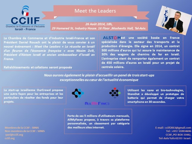 Meet The Leaders. Alstom. Nissim Zvili. CCIIF. August, 26th