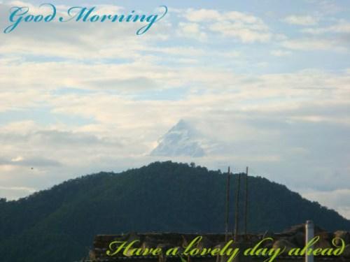 Machhapuchree in this morning from my house top Dulegunda, Tanahun