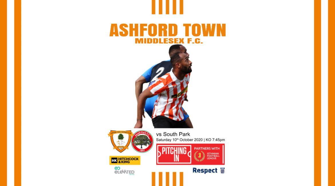 Ashford Town (Middlesex) FC vs South Park FC Matchday Programme 10th October 2020