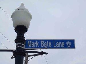Mark Bate Lane street sign, Nanaimo City Hall