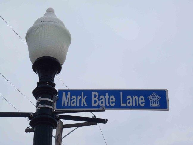 Mark Bate Lane street sign at Nanaimo City Hall