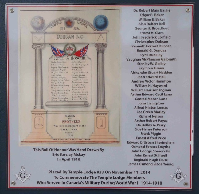 World War 1 Memorial Plaque, honouring Temple Lodge veterans of WW1, displayed at entrance to Duncan Masonic Temple, Duncan, B.C.
