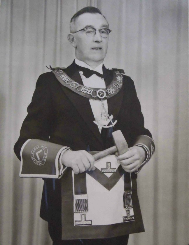 Oscar Hackwood, Worshipful Master of Ashlar Lodge, No.3 in 1955