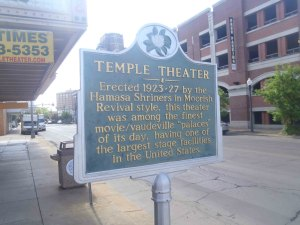 Temple Theater historical marker sign, Meridian, Mississippi. The theater is still owned by the Hamasa Shrine.