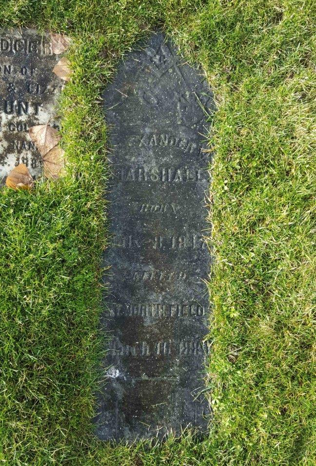 Alexander Marshall grave marker, Bowen Road Cemetery, Nanaimo, B.C.