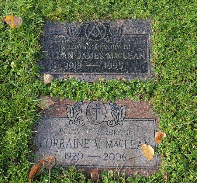 Allan James MacLean grave marker, Bowen Road Cemetery, Nanaimo, B.C.