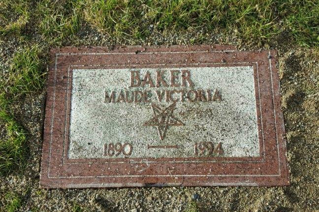 Maud Victoria Baker grave marker, Bowen Road Cemetery, Nanaimo, B.C.