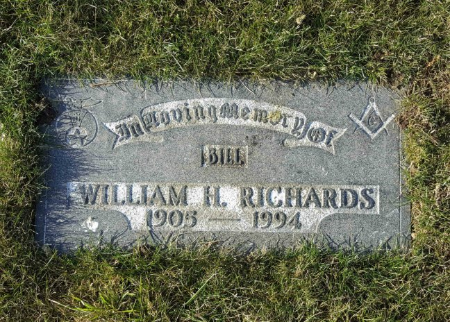 William H. Richards grave marker, Bowen Road Cemetery, Nanaimo, B.C.