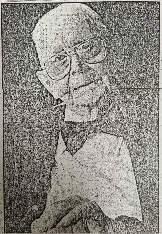 "Arthur ""Cappy"" Yates, aged 100, in 1983. From a photo in the Nanaimo Free Press."