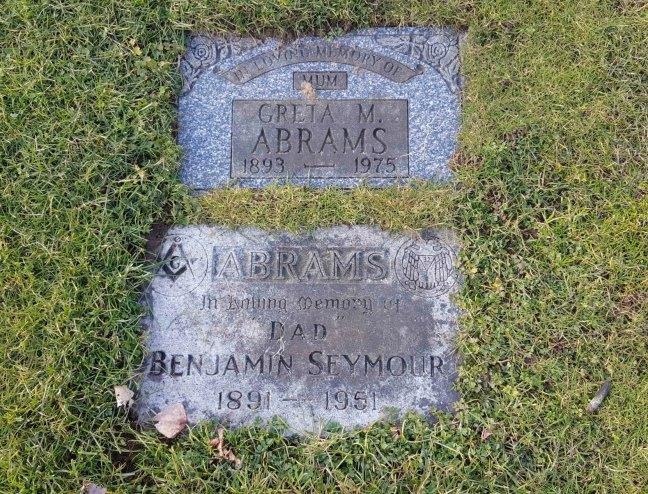 Benjamin Seymour Abrams grave marker, Bowen Road Cemetery, Nanaimo, B.C,