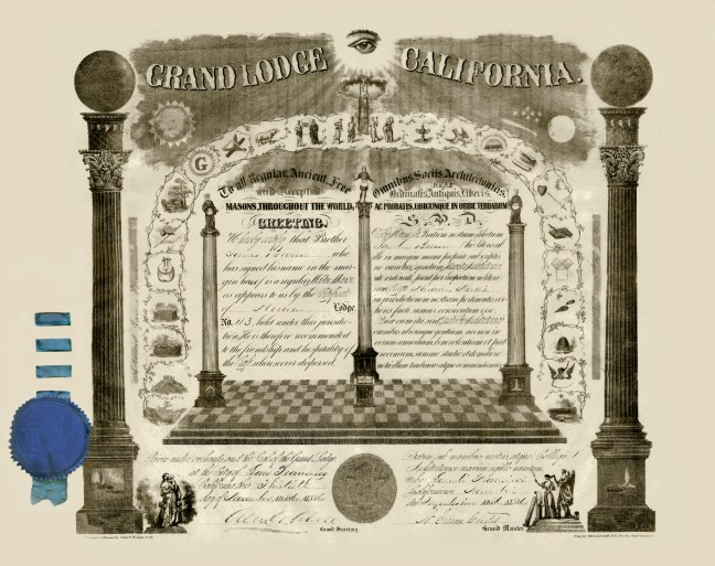 James Miller Brown Master Mason scroll, issued by the Grand Lodge of California, San Francisco, on 30 November 1860. The original is displayed in Ashlar Masonic Temple.