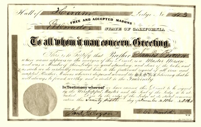 James Miller Brown, Hiram Lodge No. 43, Grand Lodge of California, demit certificate, dated 26 November 1860. The original is displayed in Ashlar Masonic Temple.