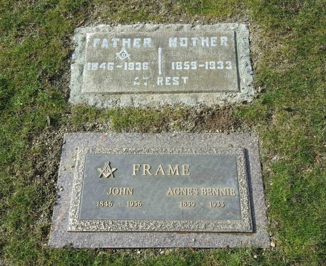 John Frame, grave markers, Bowen Road Cemetery, Nanaimo, B.C.