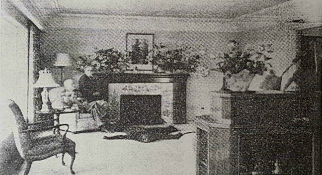 Joseph Kneen and his wife in their home, 2540 Departure Bay Road, circa 1952. This photo appeared in a 1952 newspaper article.