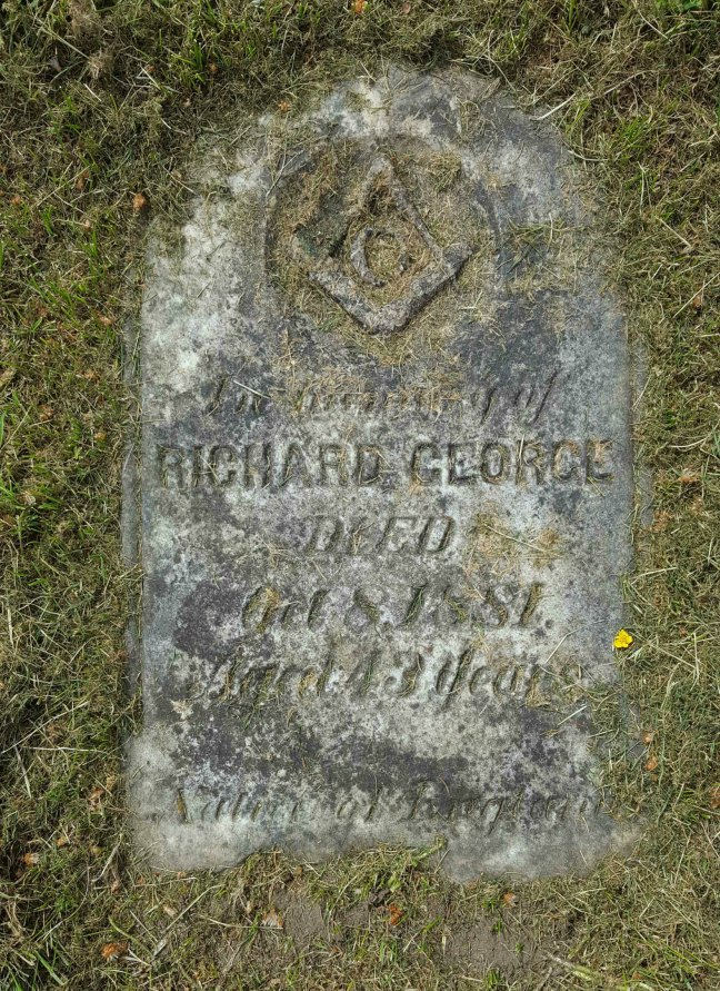 Richard George grave marker, Bowen Road Cemetery, Nanaimo, B.C. (photo by Ashlar Lodge No. 3 Historian)