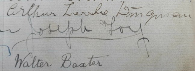 Joseph Foy signature in Ashlar Lodge No. 3 membership book, 1913 (photo by Ashlar Lodge No. 3 Historian)