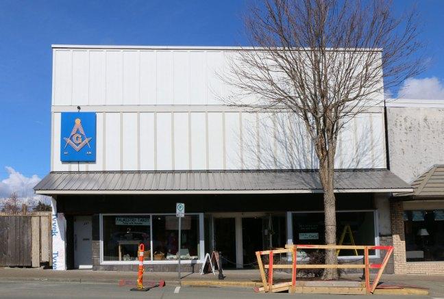 Courtenay Masonic Hall, 361 5th Street in downtown Courtenay (photo: Ashlar Lodge No. 3 Historian)