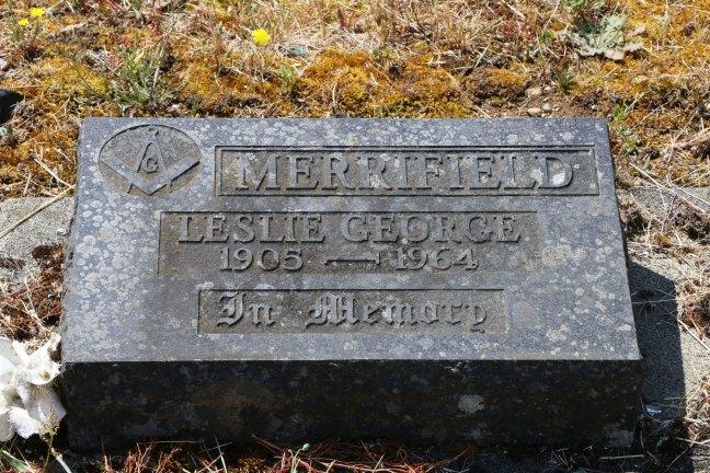 Leslie Merrifield grave, Cumberland Cemetery, Cumberland, B.C. (photo: Ashlar Lodge No. 3 Historian)