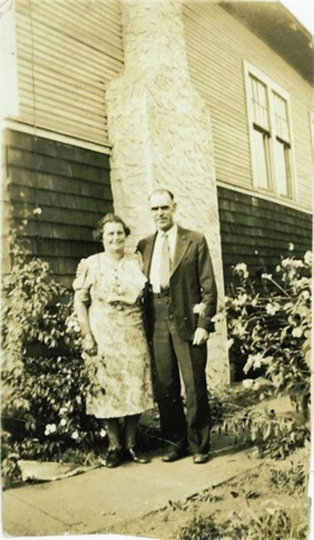John Barsby with his wife Mary at their home on Pine Street, Nanaimo, circa 1940 (photo courtesy of Donald Boudot - private collection)