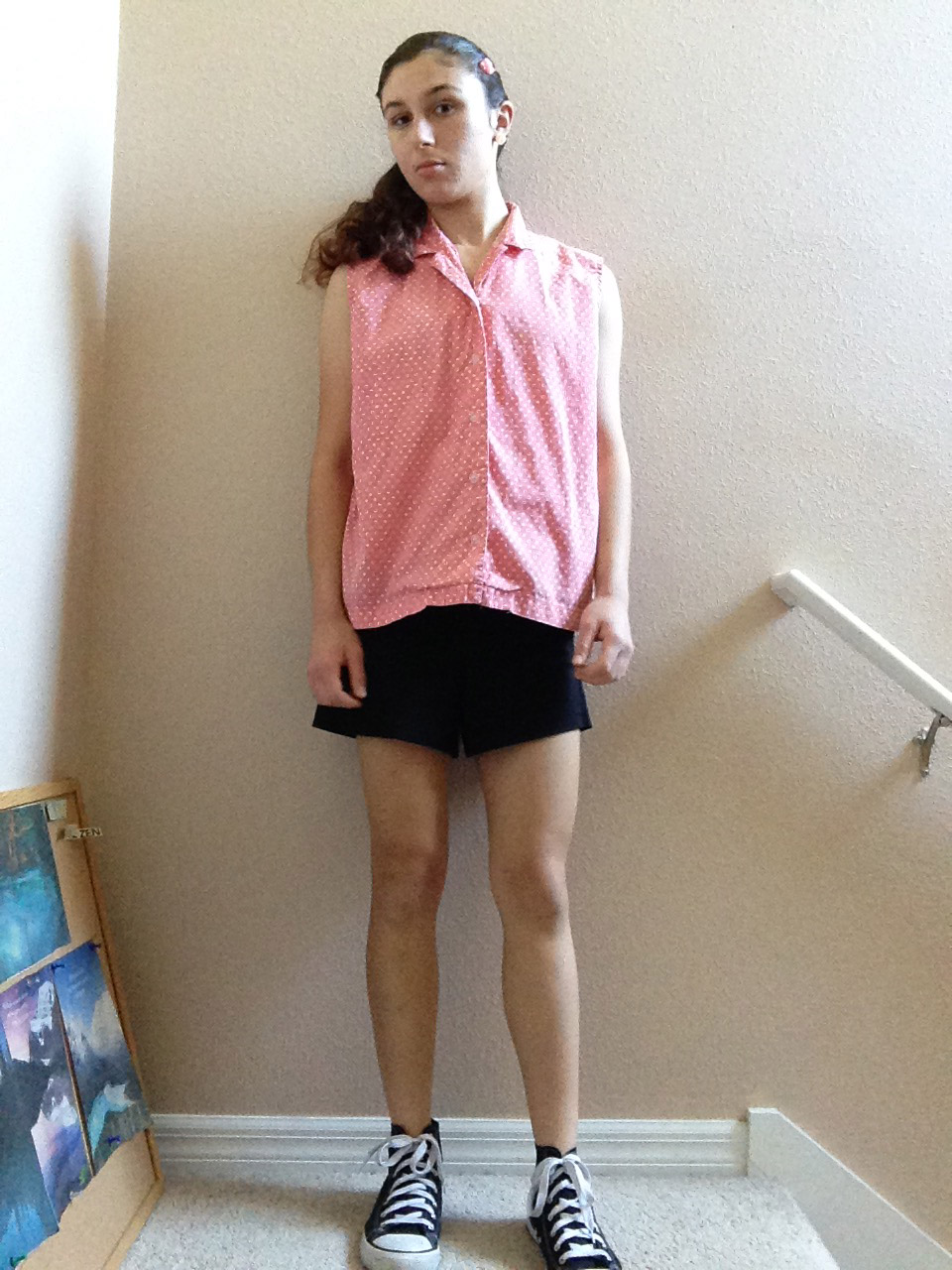 bebe6de2a3 Converse tennis shoes   black shorts from T. J. Maxx   pink   white polka  dot shirt from thrift store   ponytail   pink sparkly heart-shaped hair  clip ...