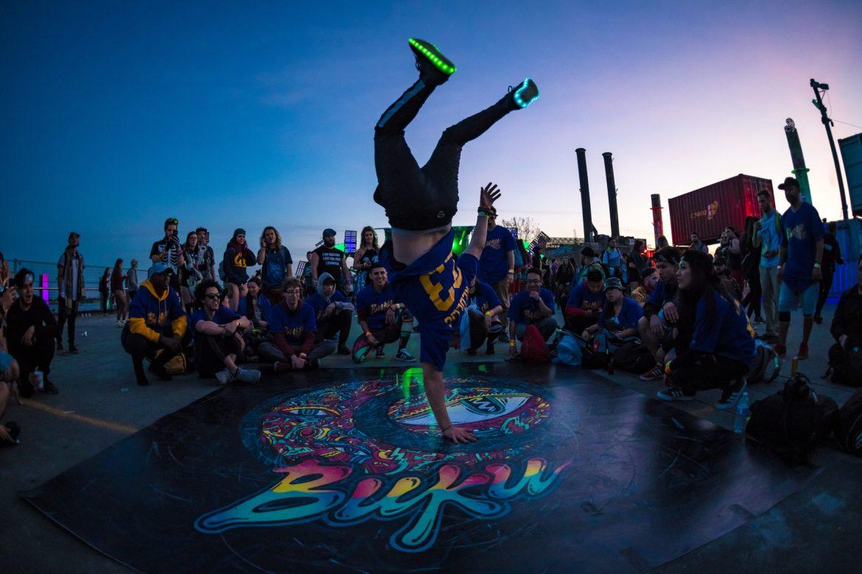 Person breakdancing at BUKU 2018