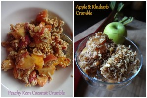 Apple crumble and peach crumble
