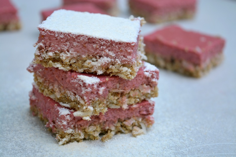 Healthy Pink Lemonade Bars feature (coconut and tigernut crust)