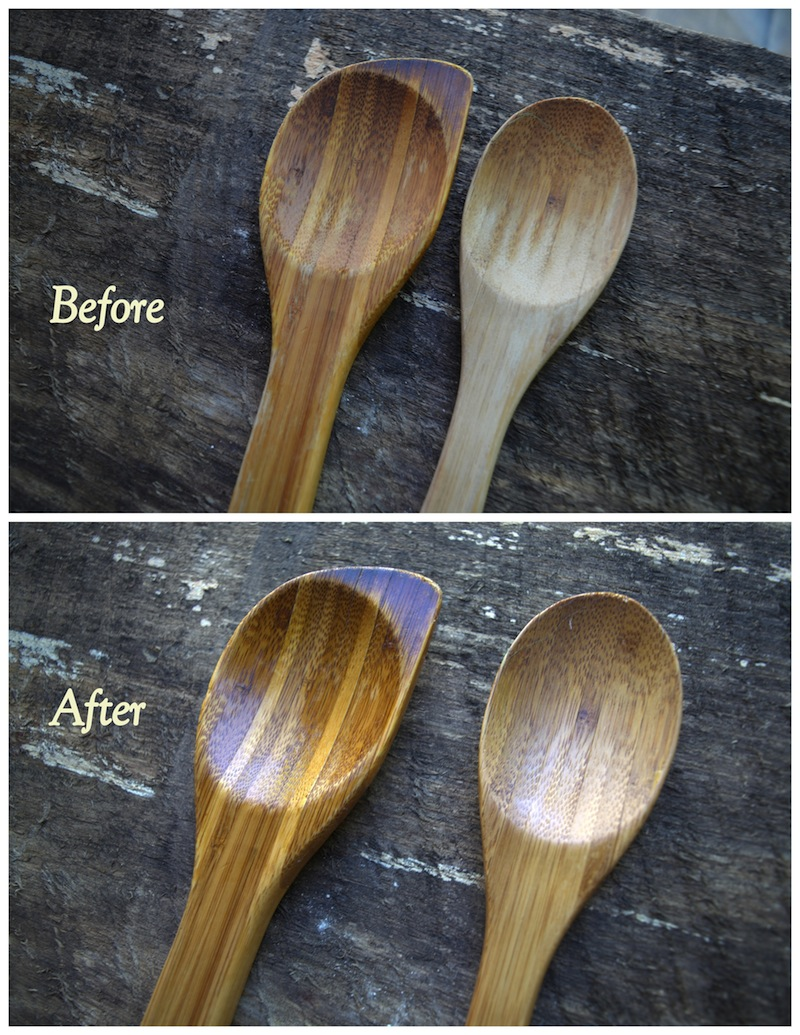 Wooden spoons - cutting board oil before after sm