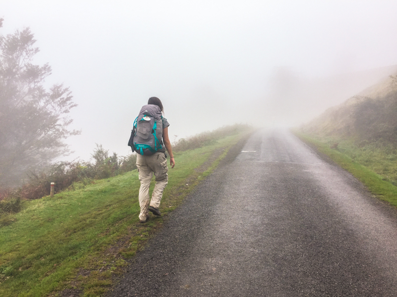 Girl walking on the Camino in Spain