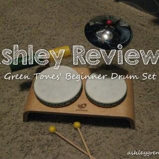 Ashley Reviews:  Green Tones' Beginner Drum Set