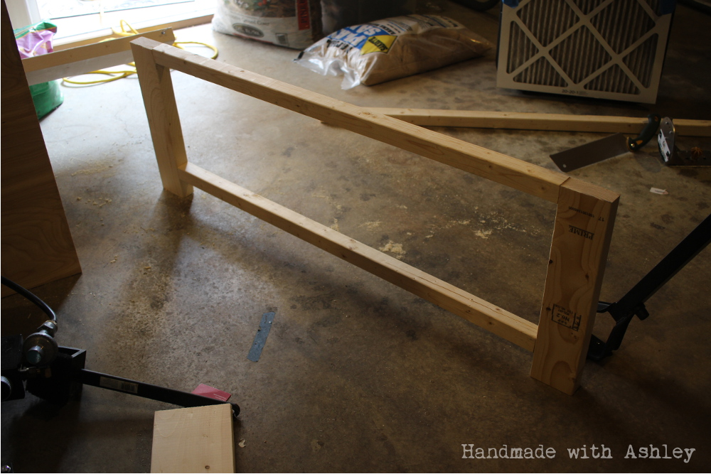 One side of the coffee table frame complete
