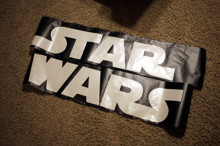 Star Wars logo stencil from Contact paper