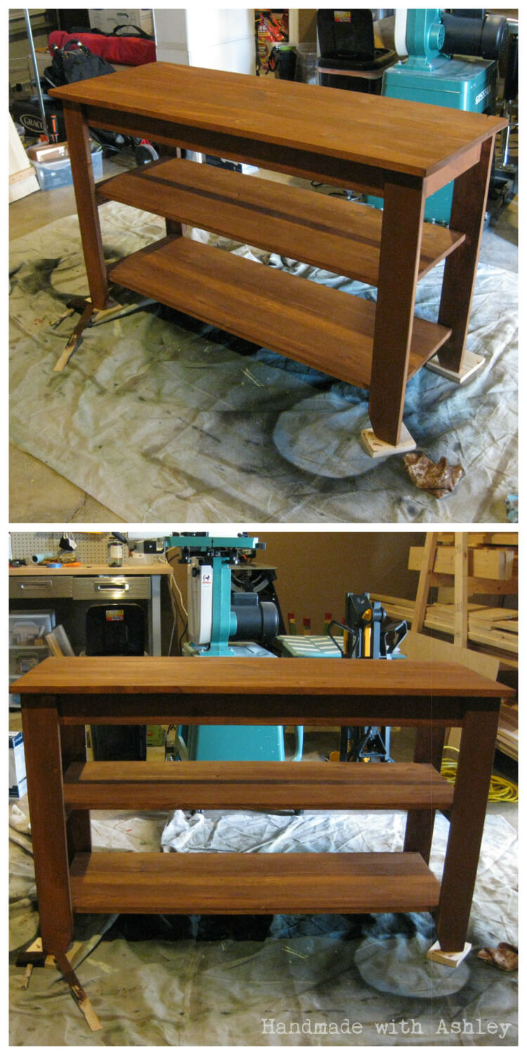Staining the rustic console