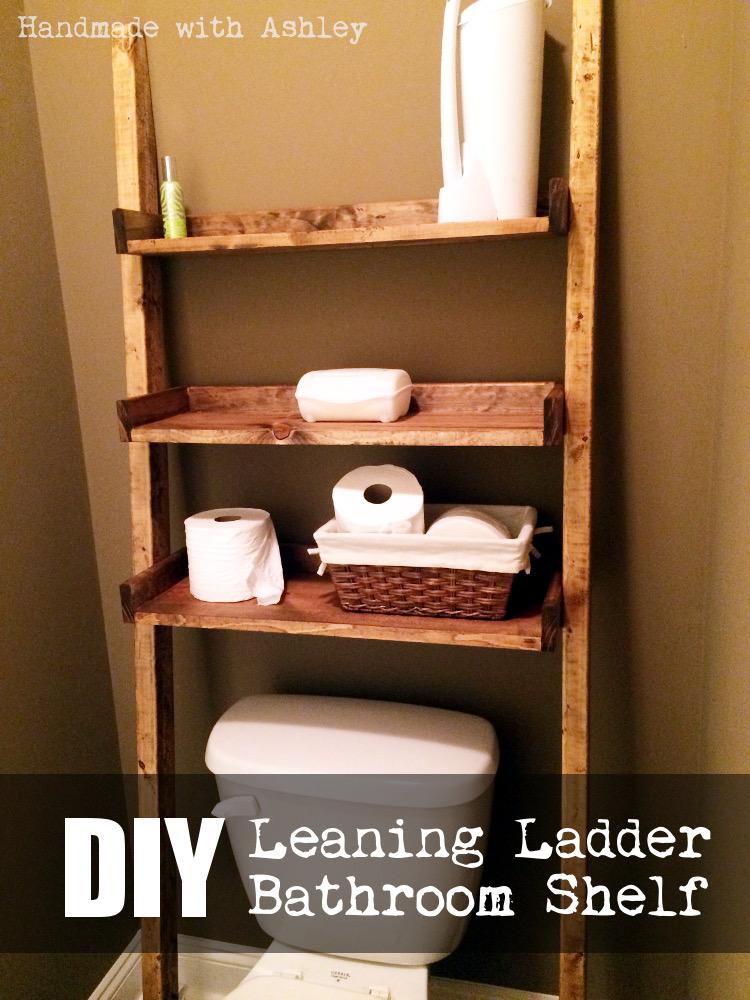 DIY Leaning Ladder Bathroom Shelf