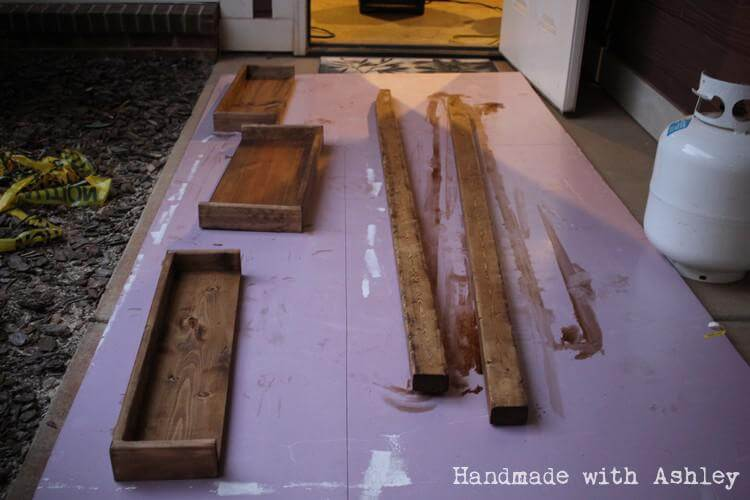 Staining the shelf with Danish Oil