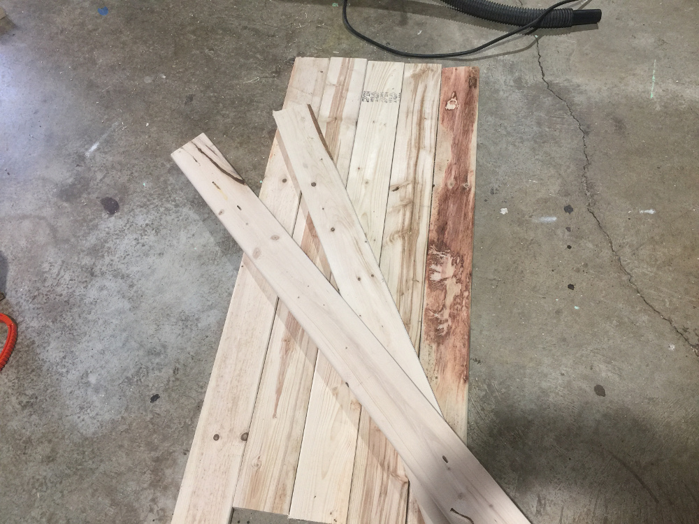 Boards cut to rough size