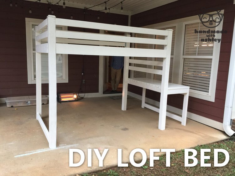 How to build a loft bed following free plans by Ana White. This DIY loft bed frees up a lot space for toy storage or for creating a little reading nook.