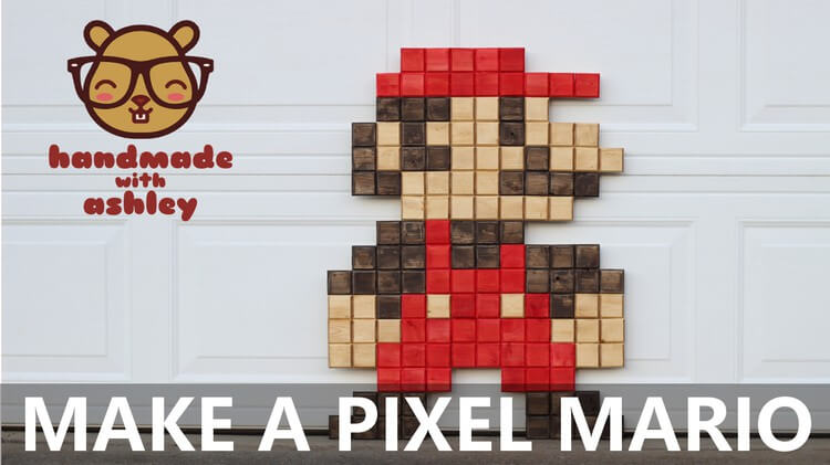 A step by step DIY tutorial on how to make a super-sized pixel Mario. Display this wall art in your game room and enjoy the 8-bit nostalgia.