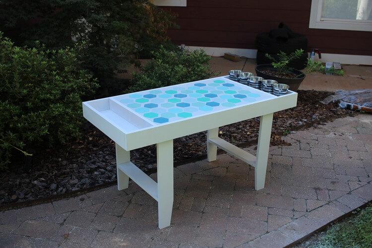 DIY Kids Art Table with Hexagon Geometric Table Top ...