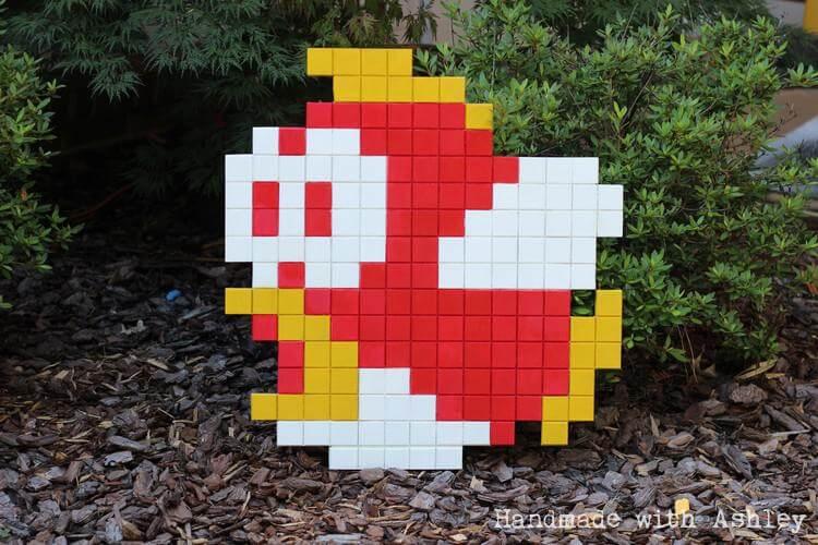 8 Bit Super Mario Bros Cheep Cheep Wall Art Tutorial Handmade With Ashley