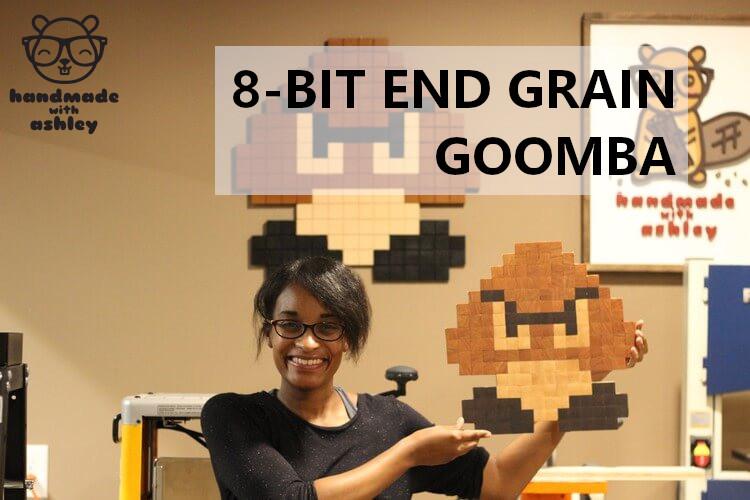 8 Bit End Grain Goomba Super Mario Bros Pixel Art Handmade With