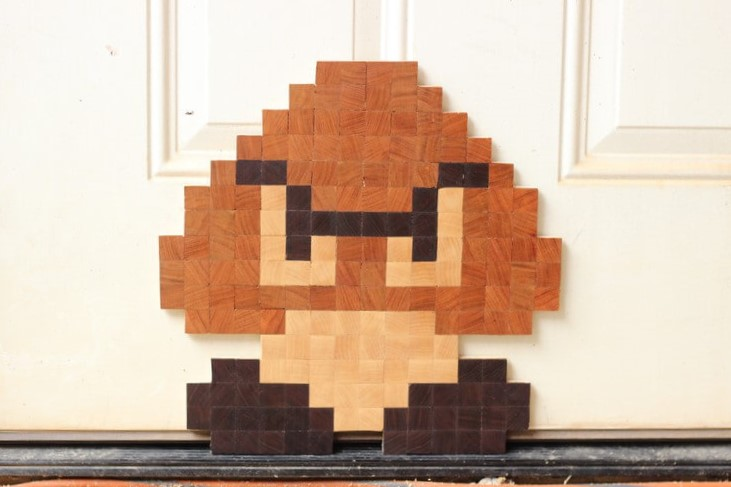 8 Bit End Grain Goomba Super Mario Bros Pixel Art Handmade