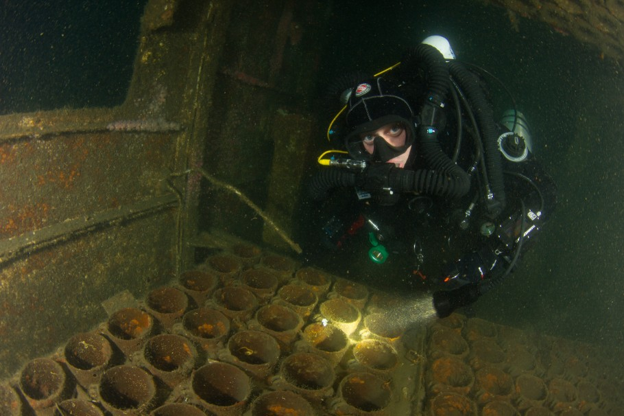 Backscatter Tutorial: Diver in HMCS Yukon magazine room, straight out of camera