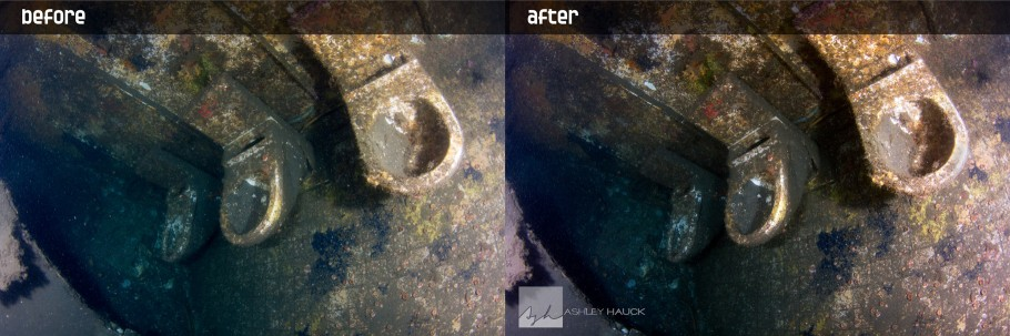 Toilets on the HMCS Yukon Wreck, before and after backscatter removal