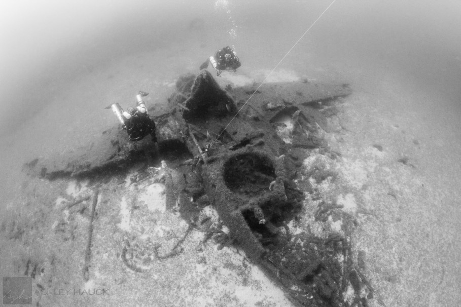 The TBM/TBF Avenger wreck in Anacapa with two rebreather divers on it.